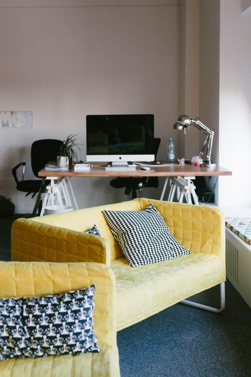 Canapé jaune Panorama Coworking